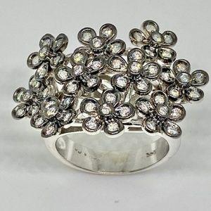 White gold set diamond ring and earring